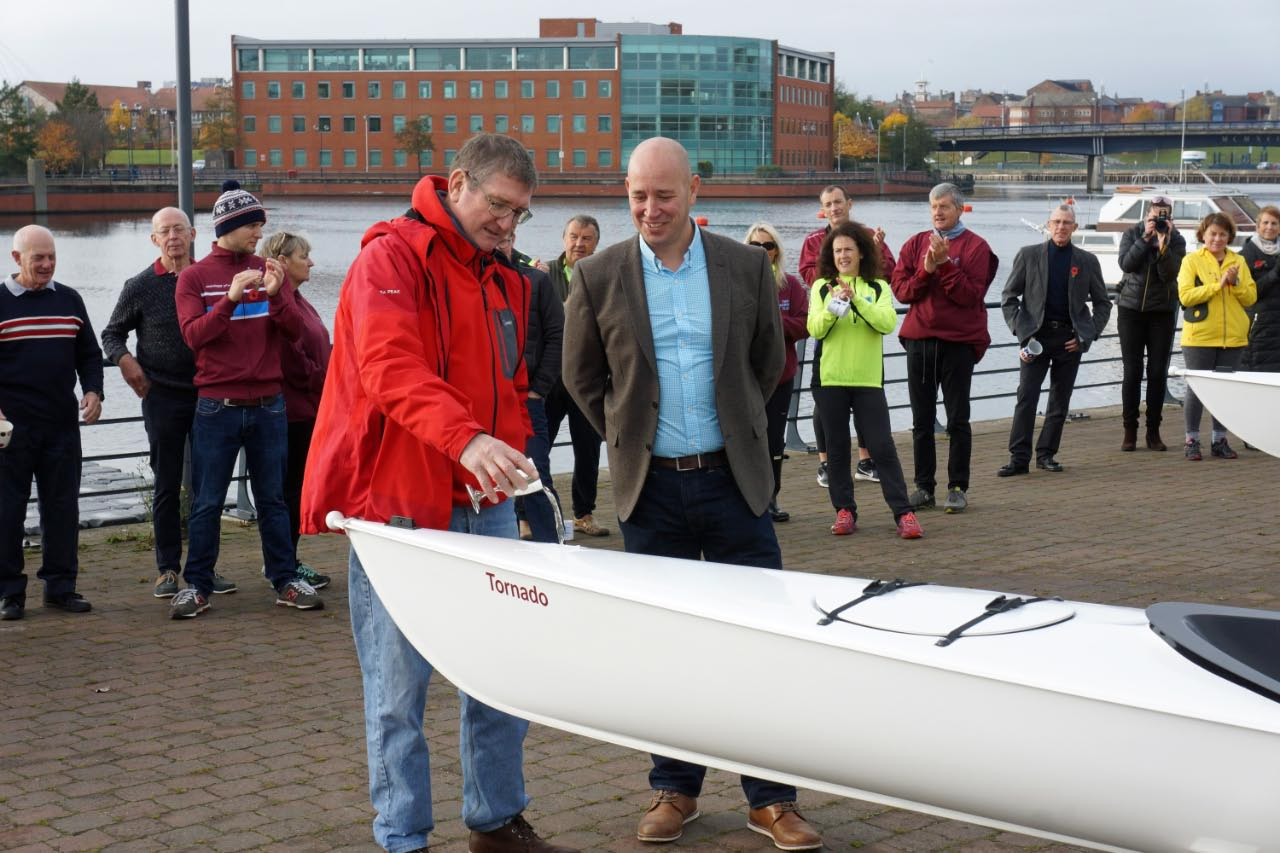 "Coach David Warburton names one of two new ""learn-to-row"" quads, ""Tornado"""
